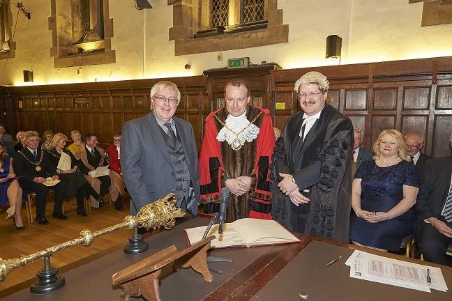 Peter Young, Mayor Andrew Smith and Town Clerk, Christopher Moulton