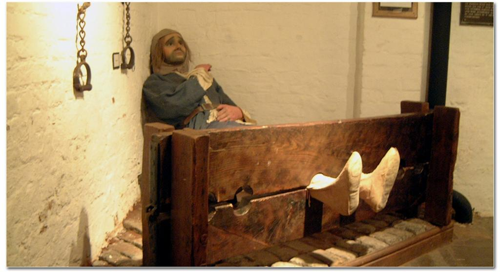 Man in stocks