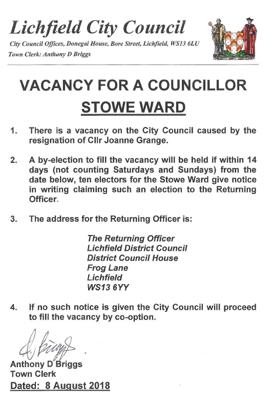 Vacancy for Stowe Ward Councillor
